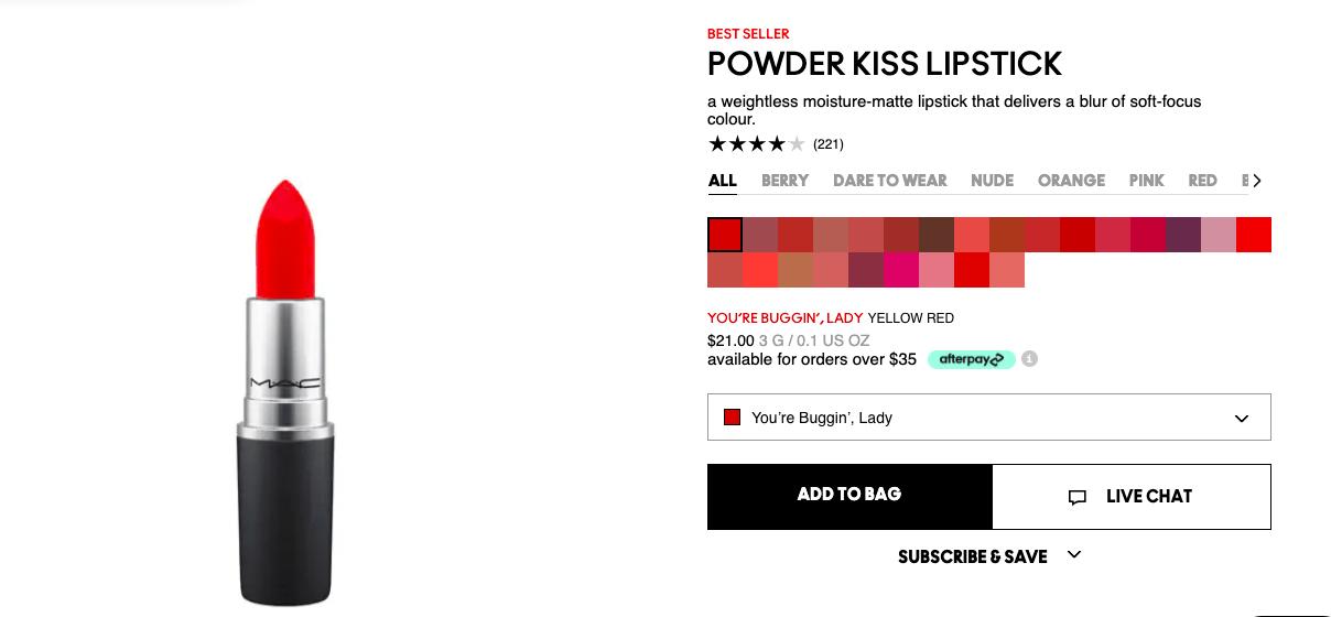 Son MAC Powder Kiss Lipstick
